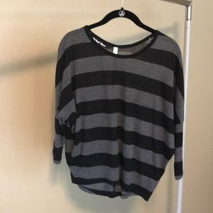 Tops - Black and grey striped top